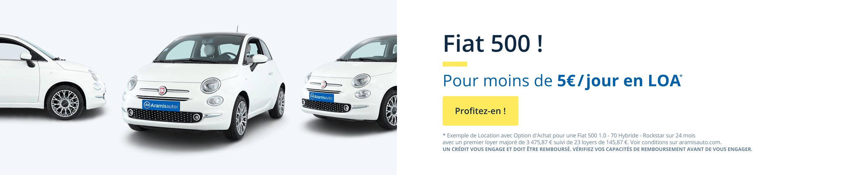 Votre Fiat 500 en LOA à moins de 5€ par jour.