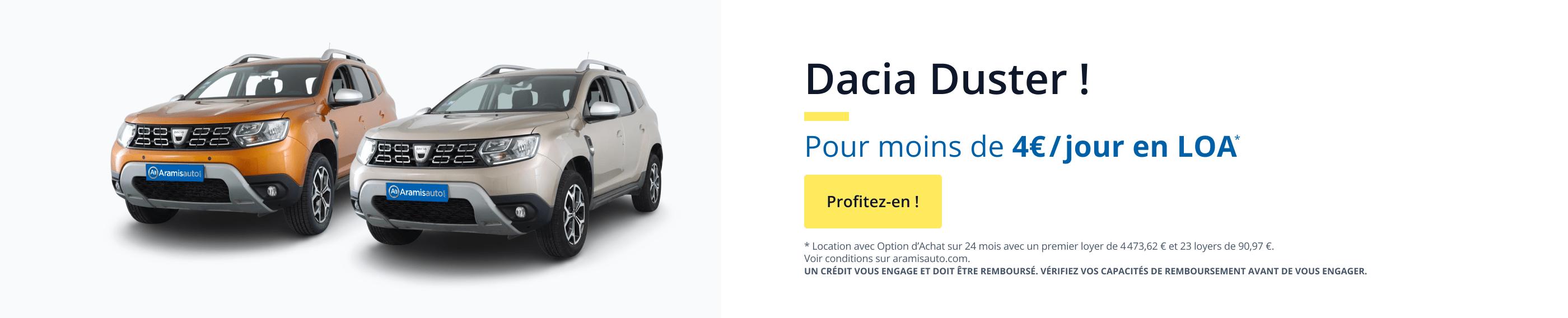 Votre Dacia Duster Nouveau en LOA à moins de 4€ par jour.