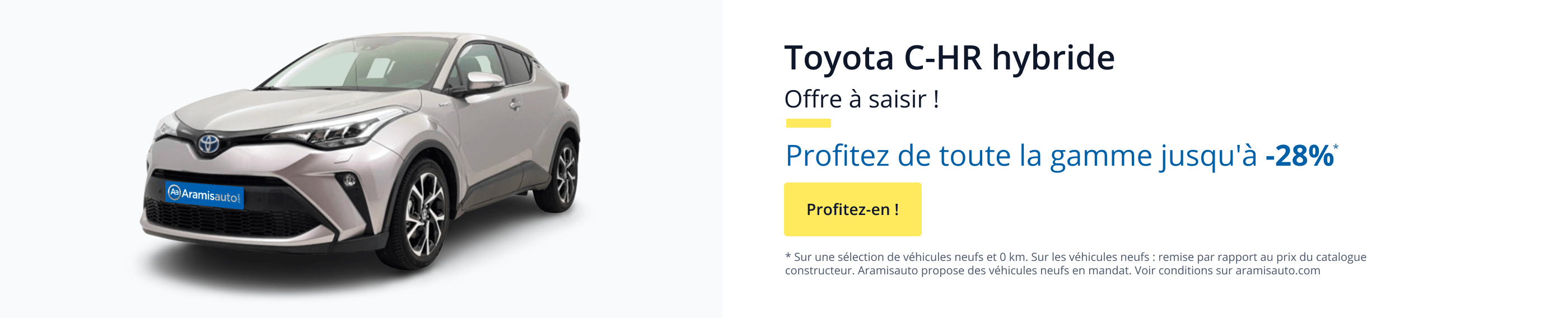 Toyota C-HR HYbride, offre à saisir ! Profitez de toute la gamme jusqu'à -26%