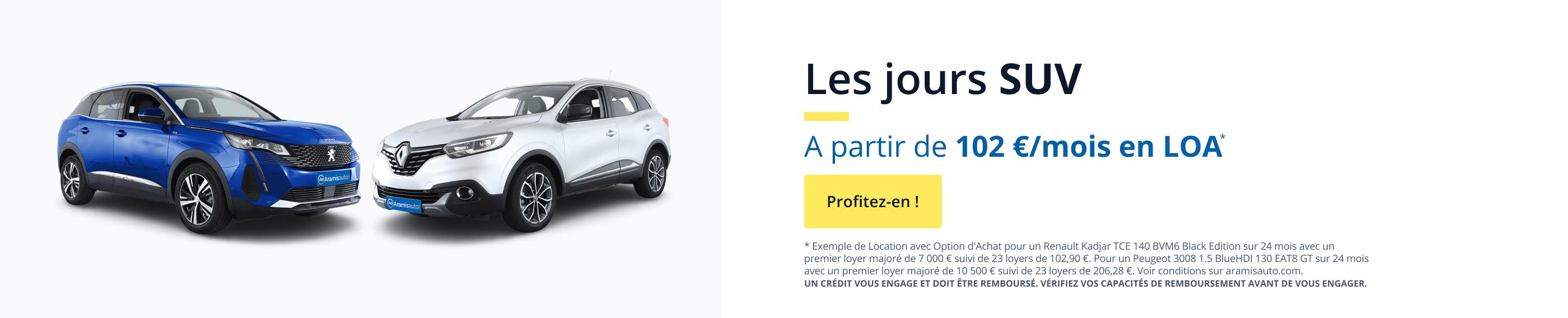 Les jours SUV, à partir de 102€ par mois ! Profitez-en !