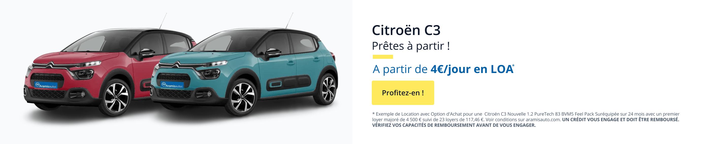 Votre Citroën C3 à partir de 4€/jour en LOA. Profitez-en !